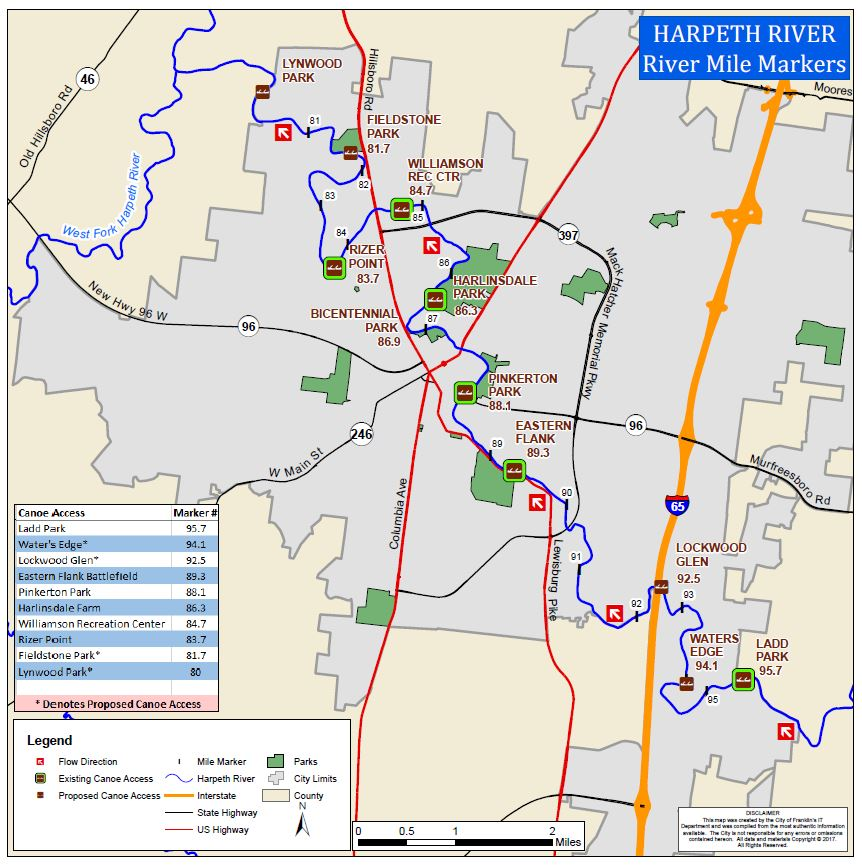 Harpeth River Canoe Access Sites City Of Franklin TN - Tn river map
