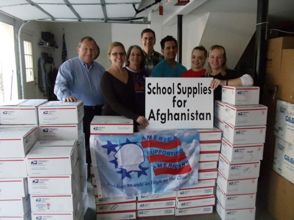 Packing school supplies for Afghanistan children 2010