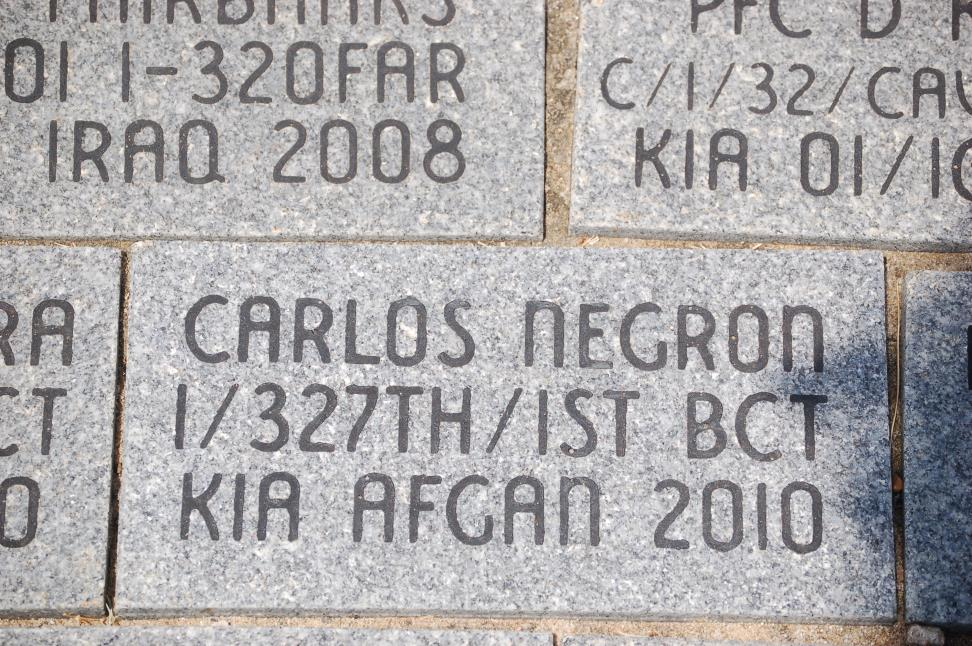 In memory of Franklin's adopted son, SPC Carlos Negron, killed in action in 2010