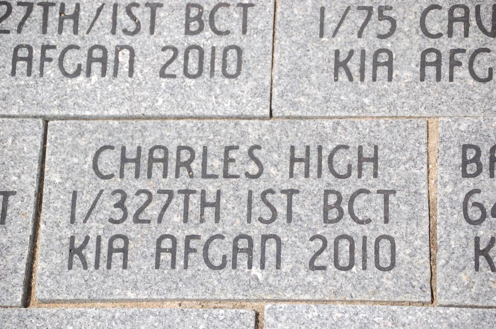 In memory of Franklin's adopted son, PVT Charles High, killed in action in 2010