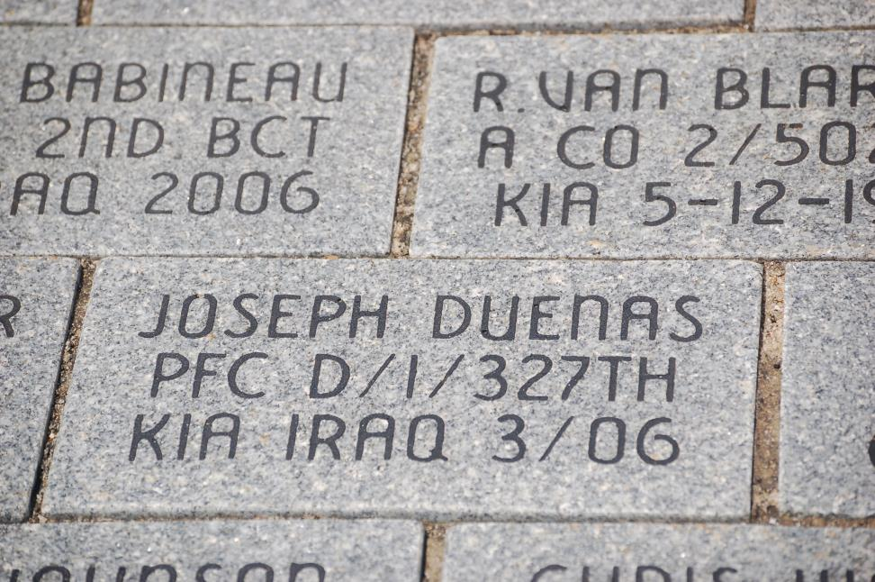In memory of Franklin's adopted son, PFC Joseph Duenas, killed in action in March 2006.