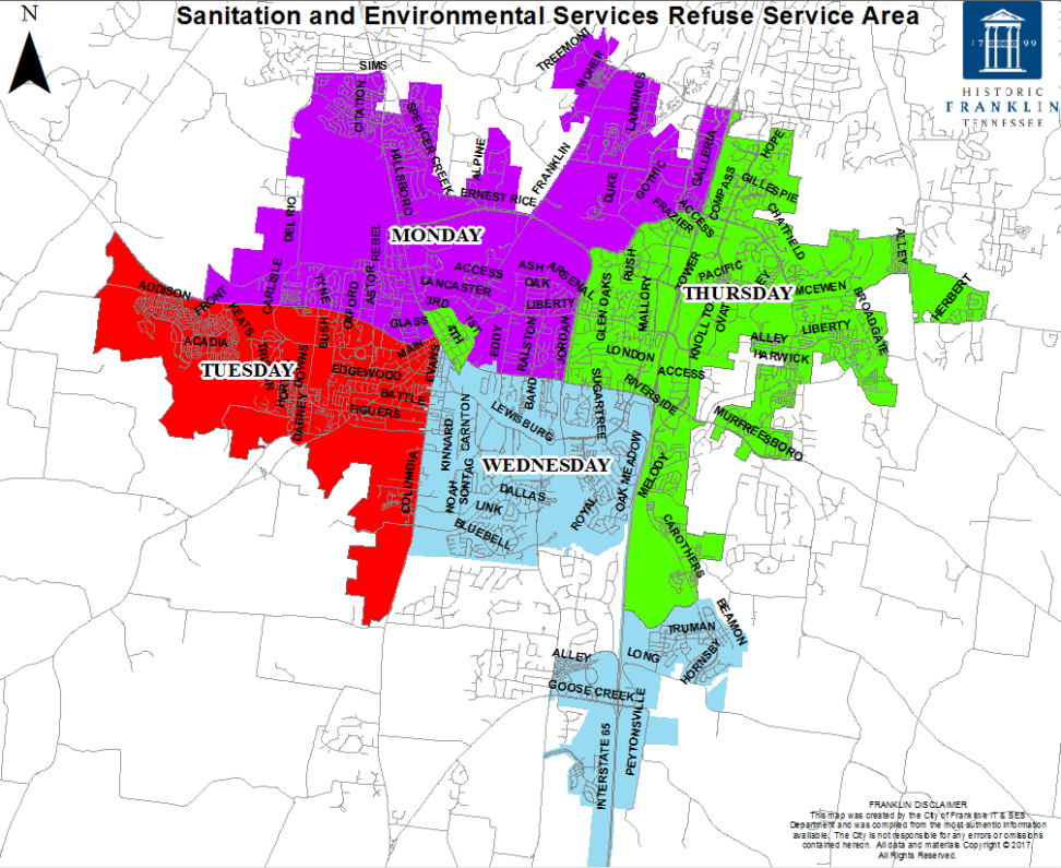SES Refuse Service Area Map