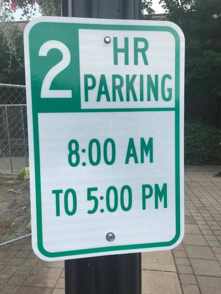 2-Hour Parking sign