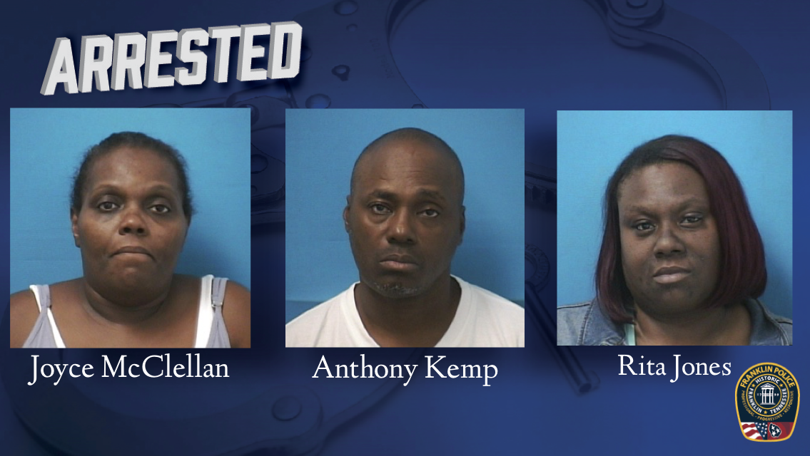 Franklin Police arrest three out-of-state suspects after store security reports suspicious, in-progress purchases