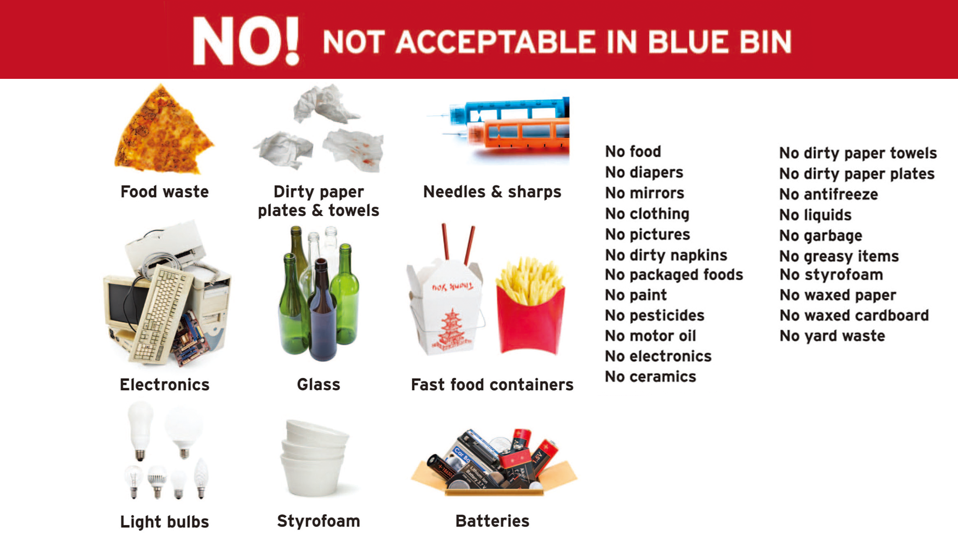 Graphic image of Items not allowed in blue recycling bin