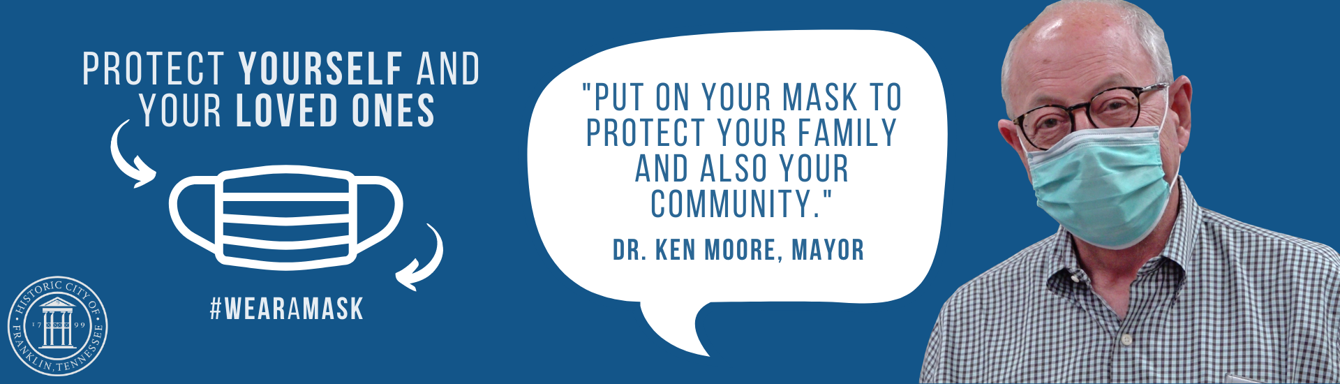 Banner with Mayor Moore wearing a mask for the Mask Campaign